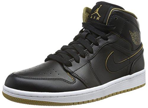 Nike Men's Air Jordan 1 Mid Black/Metallic Gold/White Basketball Shoe - 10.5 D(M) US (Jordan Gold Shoes)