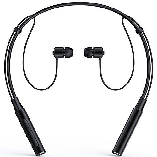 Roman Z6000 Wireless 4.1 Bluetooth Sport Headphone Neckband in-Ear Stereo Earphone with Microphone Sweatproof Hands Free Headset Noise Cancelling Earbuds for Smartphone (Black)