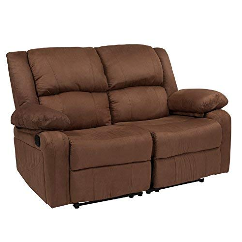 Flash Furniture Harmony Series Chocolate Brown Microfiber Loveseat with Two Built-In Recliners