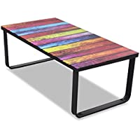 Festnight Rectangular Coffee Table Sofa Side End Tables with Rainbow/ City Print on Glass, 35.4 x 17.7 x 12.6, Weight capacity: 66 lb
