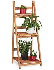 Relaxdays Estantería Escalera para Plantas de Interior, Madera, Marrón, Varios Tamaños