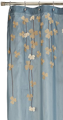Lush Decor Flower Drops Shower Curtain, 72 by 72-Inch, Federal Blue/White