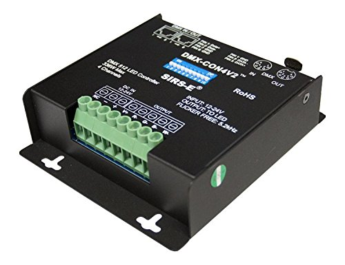 - SIRS-E 4 Channel DMX PWM Decoder for RGB & RGBW LED Lighting 12-24V DC 10A per Channel Driver Controller Dimmer DMX-CON4V2