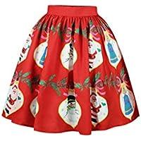 Meenew Women's Elastic Flared Pleated Christmas Printed Party Mini Skater Skirt