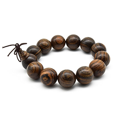 Zen Dear Unisex Natural Tigerwood Mala Beads Buddhist Prayer Bracelet Link Wrist Necklace Chain Beads (18mm 13 Beads) ()