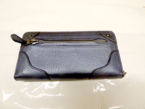 Coach QB/Pearlized Denim grain leather Mickie Accoridan Zippered Wallet F52645