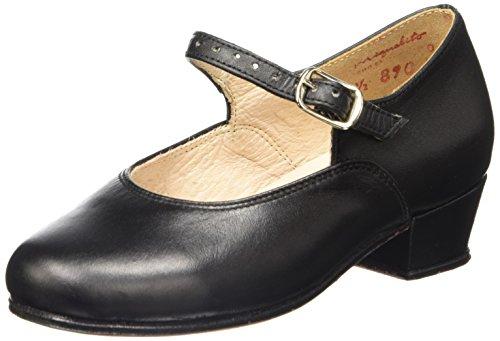 Miguelito F1710PN205 Zapatos de Tacón en Piel para Niñas, Color Negro, 20.5
