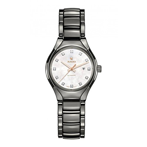 Automatic Mop Dial - Rado Women's 30mm Silver-Tone Ceramic Band & Case S. Sapphire Automatic MOP Dial Analog Watch R27243902