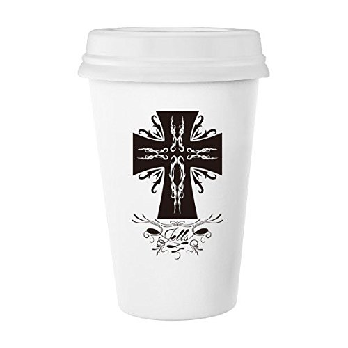 Religion Christianity Belief Church Black Holy Cross Gothic Culture Design Art Illustration Pattern Classic Mug White Pottery Ceramic Cup Milk Coffee Cup 350 ml by DIYthinker