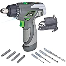 Genesis GLSD72A 7.2V Lithium-Ion 2-Speed Screwdriver, Grey, 3/8-inch chuck with Trigger Activated LED light, Battery Charger, and 8-Piece Accessory Drill and Driver Bit Set