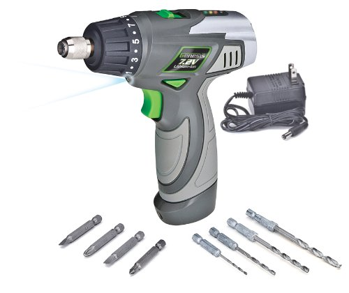Genesis GLSD72A 7.2-volt Lithium-Ion 2-Speed Screwdriver, Grey