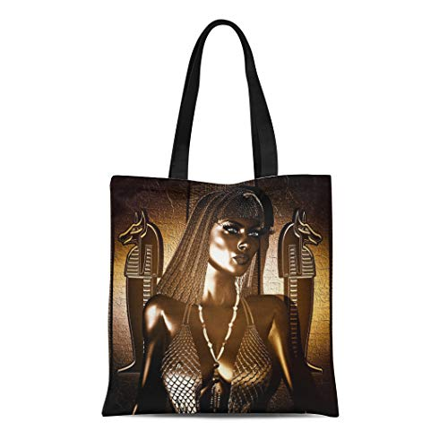 Semtomn Canvas Tote Bag Egyptian Goddess Queen in Gold and Bronze Braided Hair Durable Reusable Shopping Shoulder Grocery Bag