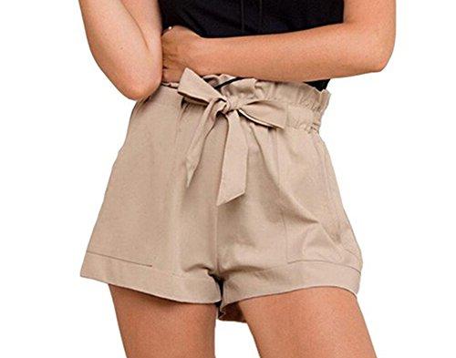 Women High Waist Crepe Woven Tie Ruffle Belt Short Pants (S, Khaki) (Khaki Women Shorts : Pleated)