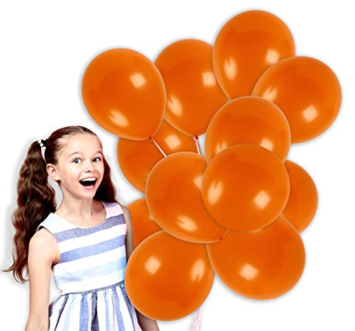 Treasures Gifted 12 Inch Orange Solid Latex Balloons Premium Quality Bouquet for Halloween Rainbow Tropical Island Spring Circus Birthday Party Supplies (100 Pack) -
