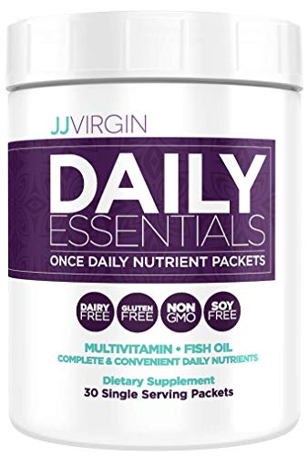 JJ Virgin Daily Essentials Vitamin Packs - Once Daily Multi Vitamins, Minerals, Antioxidants + High Quality Fish Oil Packets (30 Count)