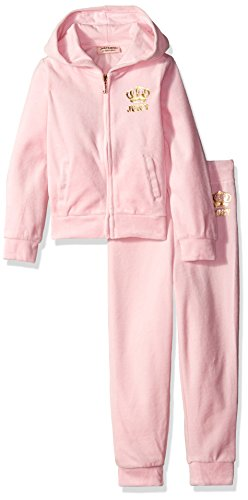 Juicy Couture Big Girls' 2 Piece Velour Hooded Jacket and Pant Set, Light Pink, 7 by Juicy Couture