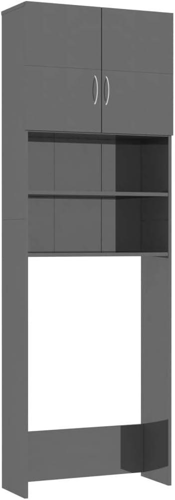 vidaXL Mueble Lavadora Secadora Torre Armario Almacenamiento Columna Hueco Lavandería Baño Cocina WC 2 Puertas 4 Estantes Aglomerado Gris Brillante