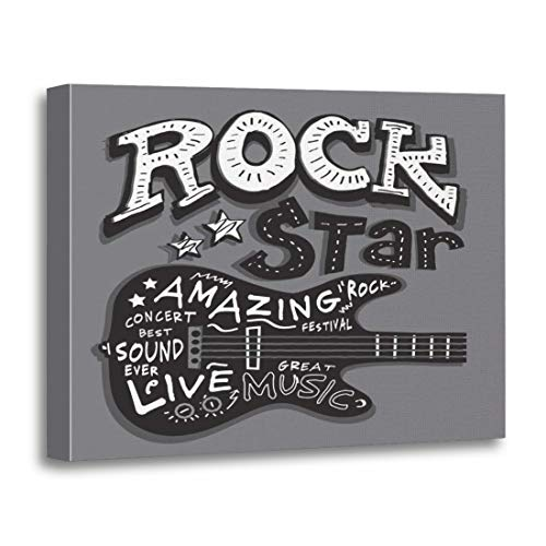 Tinmun Painting Canvas Artwork Wooden Frame Roll Rock Star Music Graphics York Amazing America Black 16x20 inches Decorative Home Wall Art -