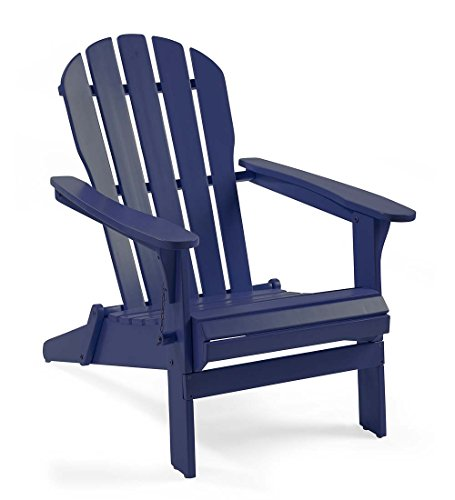 Plow & Hearth 62A80-NY Foldable Eucalyptus Adirondack Chair, Navy For Sale