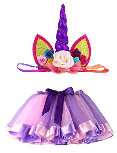 Loveyal Tulle Rainbow Tutu Skirt for Newborn Baby Girls 1st Birthday Photography Outfit Sets with Unicorn Headband. (Purple, S,0-24 -