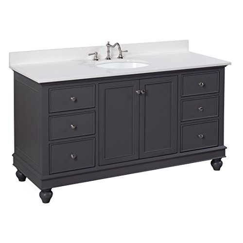 Bella 60-inch Single Bathroom Vanity (Quartz/Charcoal Gray): Includes a Charcoal Gray Cabinet, Quartz Countertop, Soft Close Drawers and Doors, and Ceramic (Ronbow Stone Counter)