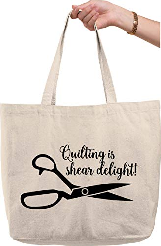 Quilting is shear delight! Scissors cursive funny sewing hobby Natural Canvas Tote Bag funny gift