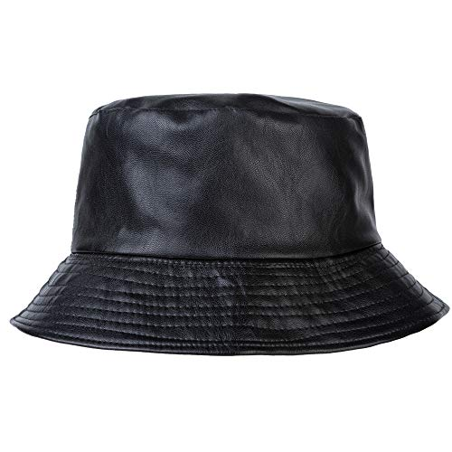 Leather Bucket Hat - ZLYC Unisex Fashion Bucket Hat PU Leather Rain Hat Waterproof (Black)