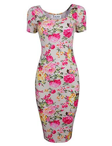 TAM WARE Women's Sweetheart Short Sleeve Midi Dress TWCWD053-BEIGE-US ()