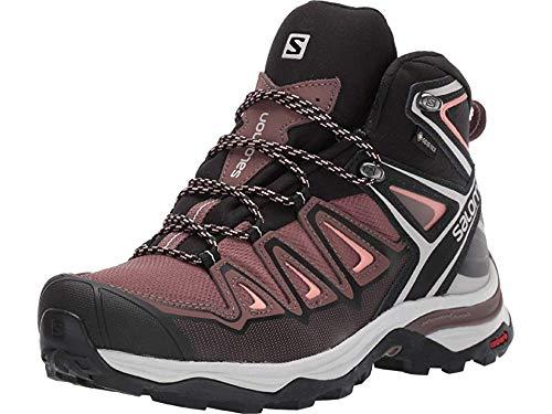 Salomon Women's X Ultra 3 Mid GTX Hiking Boots, Peppercorn/Black/Coral Almond, 6 by SALOMON