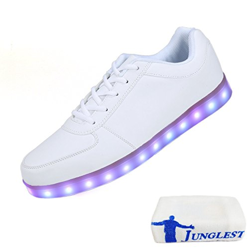 (Present:small towel)JUNGLEST® 8 Colors LED Light-Up Couple Womens Mens Sport Shoes Sneakers USB Charging for Valentines Day Chri White