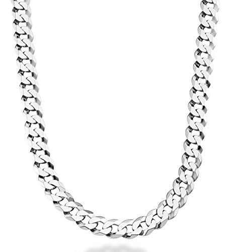 - MiaBella Solid 925 Sterling Silver Italian 9mm Solid Diamond-Cut Cuban Link Curb Chain Necklace for Men, 18