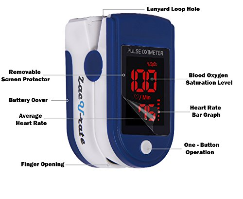 Zacurate Pro Series 500DL Fingertip Pulse Oximeter Blood Oxygen Saturation Monitor with silicon cover, batteries and lanyard (Mystic Black) by Zacurate (Image #2)