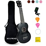 Soprano Ukulele For Beginners Four String Ukulele Start Pack W/Gig Bag Tuner Picks Polish Cloth Extra Strings (Black)