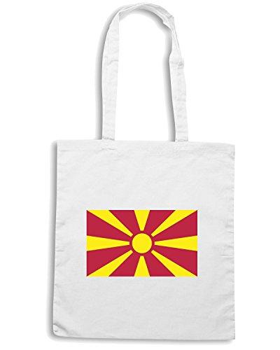 T-Shirtshock - Bolsa para la compra TM0232 Republic of Macedonia Flag flag Blanco