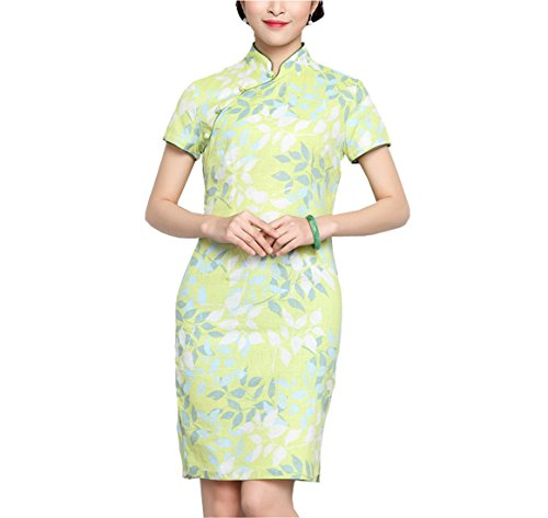 Cheongsam Asian Giallo Printed Qipao Dress Flower Acvip Short Donna xwHqBB