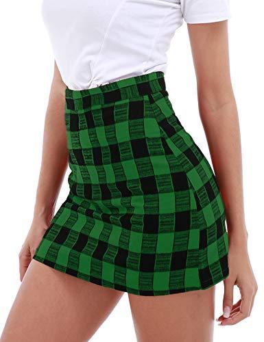 FISOUL Women's High Waist Bodycon Mini Skirt School Girl Plaid Uniform Skirt Green XL ()