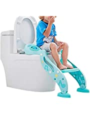 LIVINGbasics Adjustable Potty Training Toilet Seat with Non-Slip Step Stool Ladder, Handles and Splash Guard, Toddler Toilet Potty Chair for Boys and Girls Baby Kids