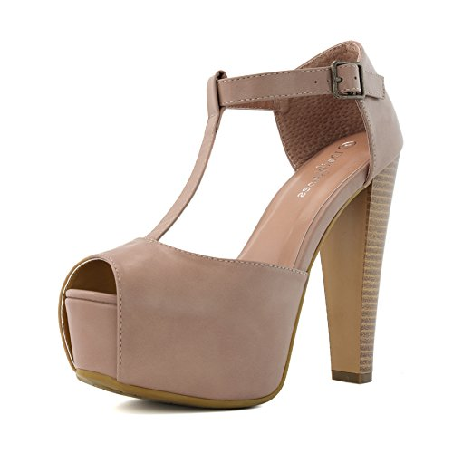 - DailyShoes Women's Peep Toe Platform Sandal Pumps Open Toe Ankle Buckle T-Strap Extreme Evening Party Dress Casual Shoes, Taupe PU, 10 B(M) US
