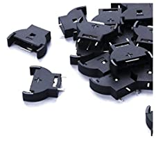 Saim 10 Pieces Plastic Shell CR2032 Button Cell Battery Sockets Holder Case Black