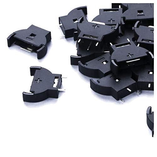 Saim Plastic Shell CR2032 Button Cell Battery Sockets Holder Case Black 20 Pcs