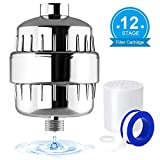 Universal Shower Filter 12 Stages Replaceable Filter Cartridge Water Purifier Softer with Teflon Tape Work with Any Shower Head for Removing Harmful Impurities