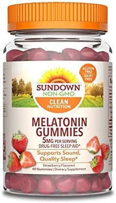 Sundown Melatonin 5 Milligram Gummies (Count 60), Strawberry Flavored, Supports Sound, Quality Sleep Non-GMO, No Artificial Flavors
