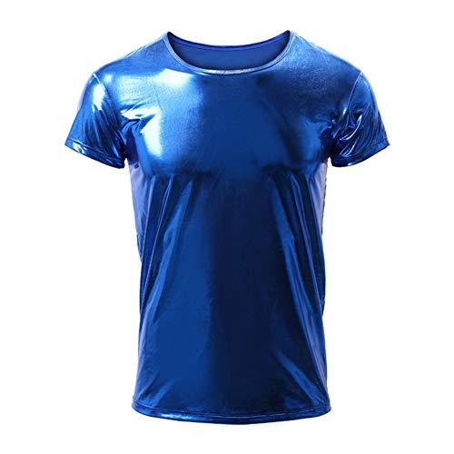 EVR Hombres Camisa de Manga Larga Camiseta Brillante de Cuero Charol Latex para Hombre Blusa con boton Sexy Camisa Invierno Otono Hip Hop Slim-fit Traje de Club Danza S-XL,Azul,XL
