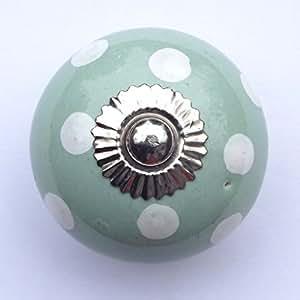 Eau de nil - Pomo de Cerámica Verde con Lunares Blancos para Muebles (cajones, puertas de armario, etc.)