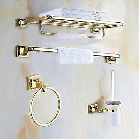 AMEA Mordern Gold Color Luxury Brass Rose Pattern 4pcs Bathroom Accessory Set