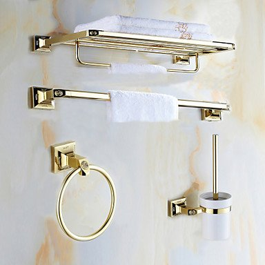 AMEA Mordern Gold Color Luxury Brass Rose Pattern 4pcs Bathroom Accessory Set by AMEA (Image #6)