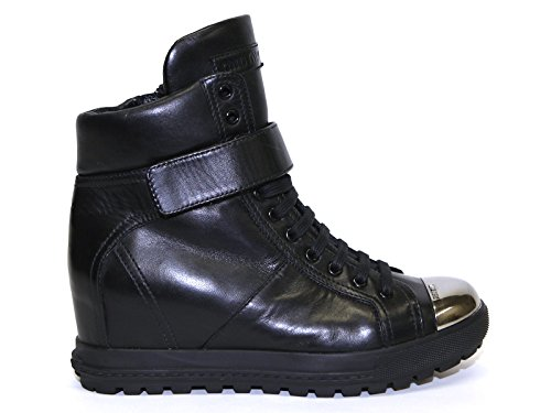 Miu Miu Wedges Sneakers Shoes in Black Soft Leather - Model Number: 5T8877 ORE F0002 Black O7pzmmOZh