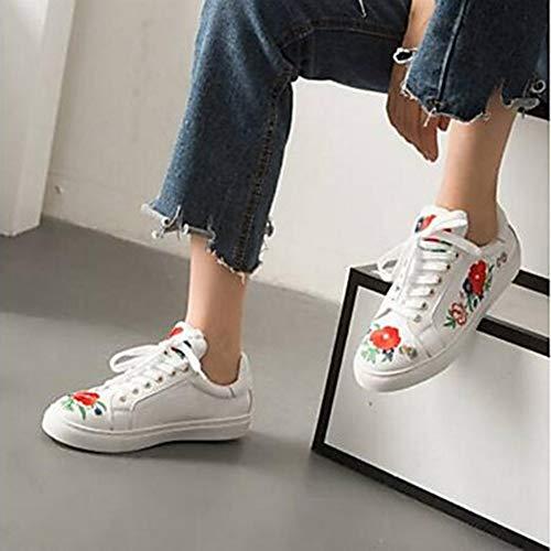 Nappa Donna UK3 Comoda White Bianco TTSHOES Primavera Per Estate Scarpe Punta US5 EU36 Tonda CN35 5 Sneakers 5 Piatto qtwx4RgA