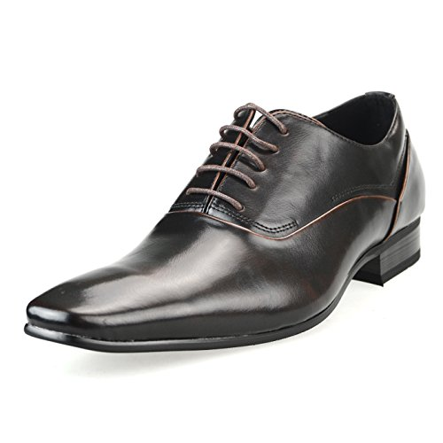 MM/ONE Mens Oxford Shoes Dress Lace Up Shoes Straight Tip Shoes Brown Darkbrown Ynmpt125-3dark Brown u9Z6Ux37ln