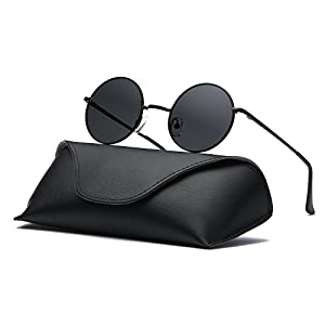 Ray Parker Fashion Classic Vintage UV Protection Round Mirrored Polarized Lens Sunglasses for Men RP8024 With Black Frame/Grey Lens